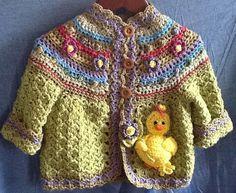 Hand crochet little girls sweater with little yellow duck