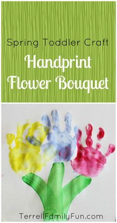 Easy Toddler Craft: Handprint Flower Bouquet. Very cute! #crafts #mothers_day #toddler #kids #fathers_day #grandparents_day #birthday #love