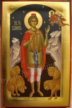 prophet Daniel in the lions' den Religious Images, Religious Icons, Religious Art, Byzantine Icons, Byzantine Art, St Daniel, Paint Icon, Russian Icons, All Icon