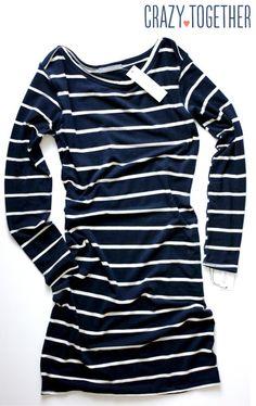 Whitmee Button Neck Striped Shift Dress from Loveapella - February 2015 Stitch Fix Review #stitchfix