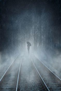 Trendy photography black and white rain lonely Walking In The Rain, Singing In The Rain, Rainy Night, Rainy Days, Arte Black, I Love Rain, Foto Art, Train Tracks, Rain Drops