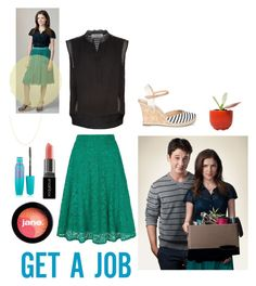 """""""Anna Kendrick-Get A Job"""" by kas3404 ❤ liked on Polyvore featuring Sandro, Yumi, Sole Society, jane, Smashbox, Maybelline, Dot & Bo and Belk & Co."""
