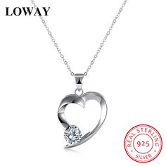 Pure Silver Necklace 925 Sterling Silver Necklaces Heart Shape with Zirconia Pendants //Price: $25.95 & FREE Shipping //     #sterlingsilverjewellery