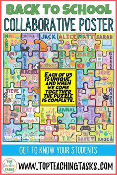 """Getting to know you collaborative puzzle. Start off the Back to School season in style with this dynamic, engaging and collaborative activity - great for first day of school activities. Get to know your students with this great """"All About Me"""" activity! Students create a collaborative jigsaw puzzle that serves as a visual introduction of each child while also reinforcing the ideas of teamwork and classroom unity. Display the amazing puzzles on a back to school bulletin board to wow yo Puzzle Bulletin Boards, Summer Bulletin Boards, Back To School Bulletin Boards, Seasonal Bulletin Boards, Display Boards For School, Get To Know You Activities, All About Me Activities, First Day Of School Activities, Back To School Art Activity"""