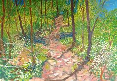Waldweg im April Painting, Seasons Of The Year, Switzerland, Woodland Forest, Idea Paint, Sketches, Landscape, Painting Art, Paintings