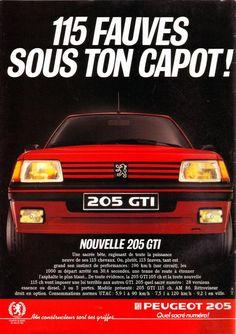 Publicité Peugeot 205 GTI de 1986