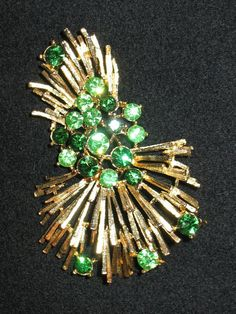 1950s Lisner Brooch, 50s Lisner Green Rhinestone Brooch on Handmade Bib Necklace by Lenore Salazar, Lisner, Lisner Green Stone and Gilt Pin
