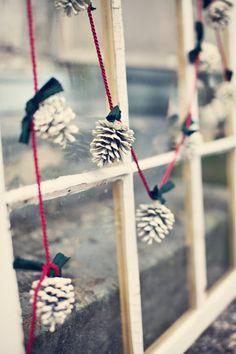 Decoração // Natal // DIY // Simples // Fácil // Pinhas // Branca // Rosa // <3