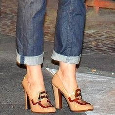 Katie Holmes Wears Prada Patent Leather Loafer Pumps