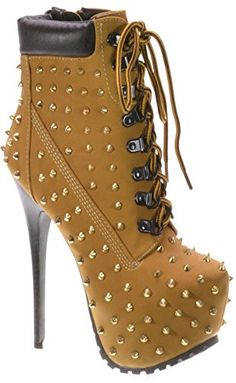 Breckelle's BLAZER-12 Women's stylish studded lace up platform ankle booties