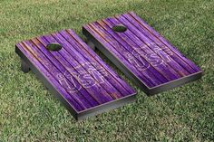Sioux Falls Cougars Weathered Wood w/ Logo Cornhole Board & Bag Set
