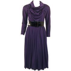 Preowned Geoffrey Beene Purple Wool Knit Cowl Neck Drape Dress & Wide... (3,465 ILS) ❤ liked on Polyvore featuring dresses, purple, long sleeve knit dress, full skirt, knit dress, wide sleeve dress and long sleeve dress