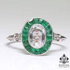 ANTIQUE ART DECO PLATINUM DIAMOND & EMERALD RING in Jewelry & Watches, Vintage & Antique Jewelry, Fine, Art Nouveau/Art Deco 1895-1935, Rings | eBay