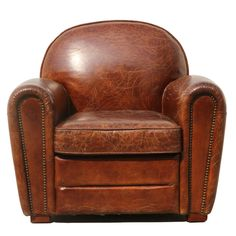 Features:  Chair Design: -Arm Chair.  Frame Finish: -Brown.  Upholstered: -Yes.  Upholstery Color: -Brown.  Upholstery Material: -Genuine Leather.  Arm Material: -Leather.  Genuine Leather Type: -Top