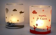 Un photophore pour Mamie {le bricolage du mercredi} Cadeau Grand Parents, Christmas Lanterns, Art N Craft, Diy Photo, Diy For Kids, Gift Tags, Diy And Crafts, Projects To Try, Candles