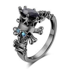 Simulated Sapphire Diamond Skull Ring