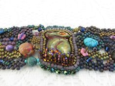 Raku rabbit freeform bracelet