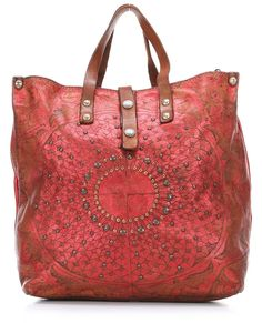 Campomaggi Lavata Gothic Handbag Leather red 32 cm - C2030LAVL-7012 - Designer Bags Shop - wardow.com