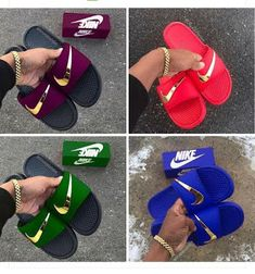 Nike Sandals, Sandals Outfit, Nike Shoes, Shoes Sneakers, Nike Slippers, Mens Slippers, Mens Fashion Shoes, Sneakers Fashion, Baskets