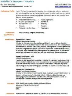 Midwife CV Example and template/