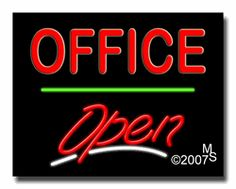 """Office Open Neon Sign - Script Text - 24""""x31""""-ANS1500-5908-3g  31"""" Wide x 24"""" Tall x 3"""" Deep  Sign is mounted on an unbreakable black or clear Lexan backing  Top and bottom protective sides  110 volt U.L. listed transformer fits into a standard outlet  Hanging hardware & chain included  6' Power cord with standard transformer  Includes 2nd transformer for independent OPEN section control  For indoor use only  1 Year Warranty on electrical components."""