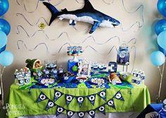 Shark Themed 3rd Birthday Party Boys Kids Blue Green