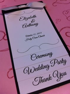 Wedding layered program with ribbon by stampingblock on Etsy, $3.00