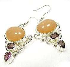 """$44 - 1 3/4"""" LONG, 1"""" WIDE DROP EARRINGS   PEACH AGATE OVAL CABOCHON STONES WITH FACETED AMETHYST ACCENTS.  AGATE: stabilizes the aura, transmutes negative energy into positive energy, a powerful cleansing effect on the physical & emotional levels. Balances the emotional physical & intellect. Soothes & calms, self acceptance, self confidence, improves concentration & perception, heals inner anger, links one to their higher consciousness & awa"""
