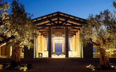 The entryway to the Romanos Luxury Collection resort, Navarino Dunes, in Costa Navarino, Greece. Designed by Scape Design. Photography courtesy of Costa Navarino. Greece Resorts, Belize Resorts, Beach Resorts, Hotels And Resorts, Luxury Resorts, Yacht Charter Greece, Spa Lighting, Lighting Design, Luxury Collection Hotels