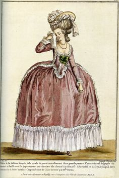 fashion plate mentioning Rose Bertin (Marie Antoinette's dress maker) - unknown source and exact date