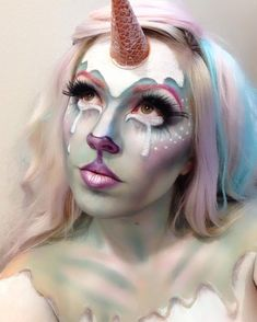 Halloween Makeup : Banning (Pepper Thomas) on Instagram: And another #pastelpaloozacontest #unic Unicorn Halloween Costume, Halloween Make Up, Halloween Face Makeup, Halloween Costumes, Face Paint Makeup, Makeup Art, Makeup Ideas, Sfx Makeup, Makeup Tips