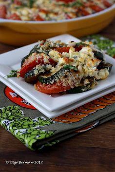 Zucchini, Tomato, and Feta Gratin