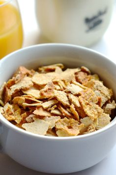 Start the morning with a bowl of homemade corn flakes.
