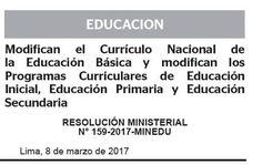 Teresa Clotilde Ojeda Sánchez: RM. 159-2017-MINEDU  Modifican el Currículo Nacion...