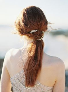 low wrapped pony tail / bridal hair / red hair