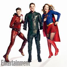 All In The Family: Inside DC's Ultimate Superhero Crossover - Photo: Grant Gustin (The Flash), Stephen Amell (Green Arrow), and Melissa Benoist (Supergirl)