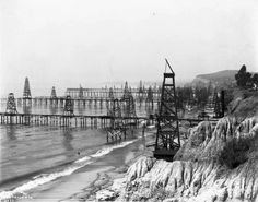 Oil wells on the beach in Summerland, just east of Santa Barbara, circa 1901-03. [USC Libraries - California Historical Society Collection] -- Los Angeles Was Once a Forest of Oil Derricks