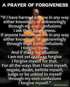 And if there is a situation I am not yet ready to forgive I forgive myself for that.