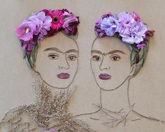 """The Two Fridas"" Flower Face Print - Flower Art, Frida, Frida Kahlo, Unique Art"