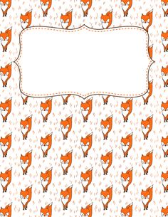 Free printable fox binder cover template. Download the cover in JPG or PDF format at http://bindercovers.net/download/fox-binder-cover/