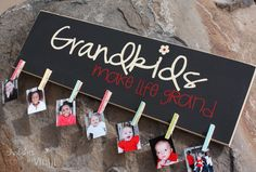Grandkids Picture Board. This would be a great way for grandma and grandpa to display current photos of the grand kids. This would make a great Mother's Day/Father's Day present.
