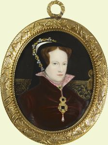 Queen Mary I (1516-58) 1851. Commissioned by Queen Victoria. Signed, dated and inscribed on the counter-enamel: Queen Mary Tudor/ After Holbein/ Painted by W.Essex 1851/ Enamel Painter to Her Majesty/ & H.R.H. Prince Albert. She is wearing the famous pearl necklace given her by Phillip of Spain on their marriage. It was later owned by Elizabeth Taylor and recently sold at auction.