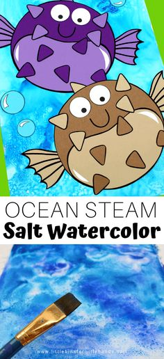 Kick off your ocean theme activities with an awesome STEAM project! This cool ocean theme craft is very easy to make with just a few simple materials from the kitchen. Combine art with science with ST Painting Activities, Animal Activities, Toddler Activities, Ocean Theme Crafts, Ocean Themes, Water Themed Crafts, Ocean Kids Crafts, Ocean Animal Crafts, Kindergarten Activities