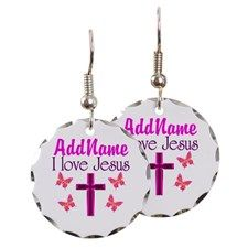 I LOVE JESUS Earring Give the gift of faith, hope, and love with these beautiful personalized jewelry and keepsake boxes. http://www.cafepress.com/heavenlyblessings/11366914 #Christiangifts #Christiankeepsakebox #Biblegift #Jesusgift #BornagainChristian #JesusisLord #Scripturegift
