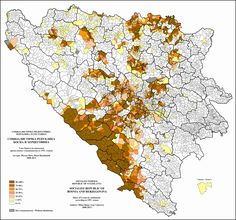 Geographical distribution of Croats in Bosnia and Herzegovina, 1991 census