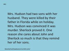 The reason Sherlock loves Mrs. Hudson so much