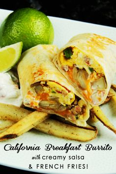 """Garlic, cumin, cayenne, crispy French fries with cheesy eggs and bacon wrapped in a tortilla and then toasted to crispy perfection. My husband who gets a CA burrito every Saturday after surfing from a local taco shop, exclaimed, """"These are legit!"""""""
