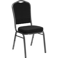Crown Back Banquet Stack Chair - Silver Vein Frame. Availability: In Stock. Sold in multiples of 4 with a minimum order of 20. Crown back banquet stack chair is an affordable option for your restaurant stack chair needs. 1'' Thick Padded Back. 2.5'' Thick Foam Cushion. Available in two colors. Plastic Bumper Guards prevent abrasions when stacked. Non-Marring Plastic Floor Glides. Easy to Move and Store.