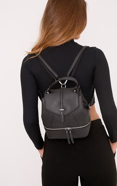 Alexis Black Double Zip Back Pack Image 2