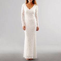 BLUE SAGE Blu Sage Long-Sleeve Lace at jcpenney wedding gowns - Wedding Gown Totally Unique Fashion Forward Wedding Dresses White Wedding Gowns, Tea Length Wedding Dress, Bohemian Wedding Dresses, Wedding Dresses Plus Size, Lace Wedding, Gown Wedding, Long Sleeve Formal Gowns, White Lace Gown, Lace Gowns